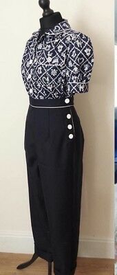 Vintage Style High Waist Hand Tailored Trousers