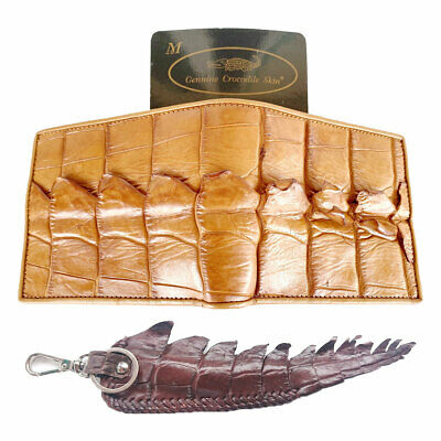 Genuine Real Tail Crocodile Alligator Skin Leather Man Bifold Red Wallet