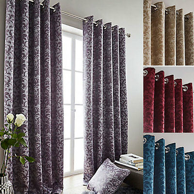May Damask Woven Dim Out Ring Top Curtains Gold, Silver, Teal & Wine -SMART
