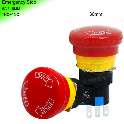 5A/250V Mini 16mm Emergency Stop Push Button Switch NO+NC Red Mushroom Head 30mm