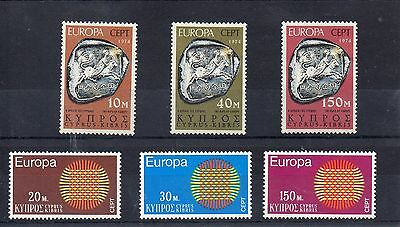CYPRUS 1970 / 74 EUROPA SG 345 to 347 + 423 to 425 m/m