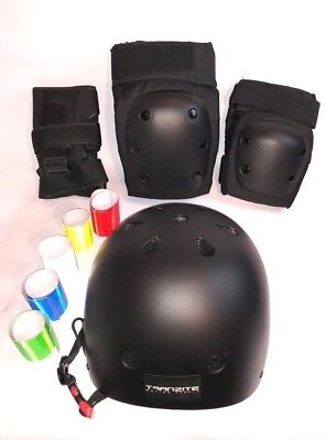 Skateboard Helmet and Protective Gear with Reflective Stickers !! - Full Set