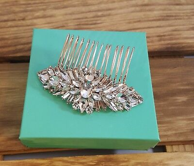 Elegant Sophisticated Bridal Rose Gold Plated CZ Hair Comb