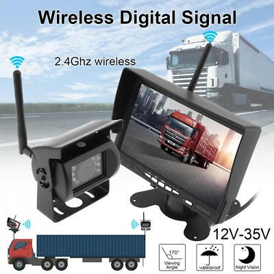 """Wireless Rear View Back up Camera Night Vision System + 7"""" Monitor for RV Truck"""