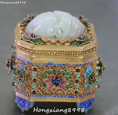 China Cloisonne Enamel Gold Gilt White Jade Bird Jewelry jewellery Box Case
