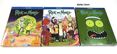 RICK AND MORTY SEASONS  ONE, TWO and THREE 1, 2 & 3 (Blu-Ray Bundle) - New!