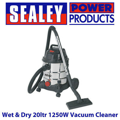 Sealey PC200SD 110v Vacuum Cleaner Industrial Wet & Dry 20ltr 1250w Stainless