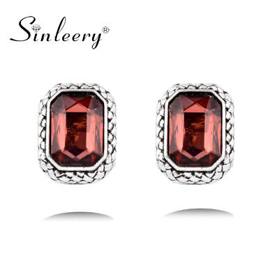 Vintage Square Rhinestone 6 Colors Stud Earrings Fashion Jewelry Antique Sliver