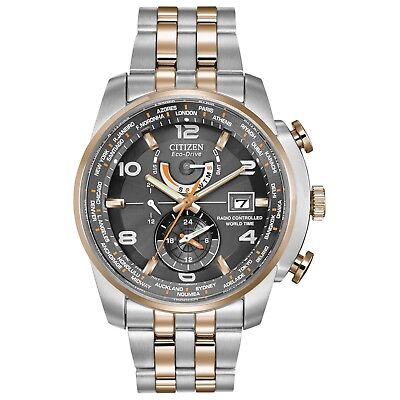 Citizen Eco-Drive Men's AT9016-56H Atomic World Time Chronograph 43mm Watch