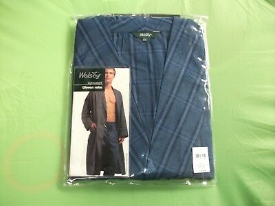 Mens New Lightweight Dressing Robe Lge/xl-By Wolsey-Blue Check-With Pockets