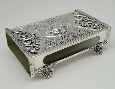 Fine 925 Sterling Silver Handcrafted Ornate Floral & Swirl Matchbox On Legs