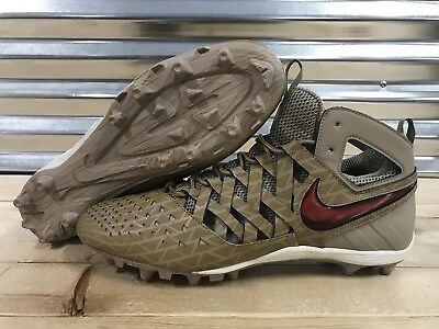 Nike Huarache V LAX Elite Lacrosse Cleats Khaki Brown Red SZ 16 ( 807120-200 )