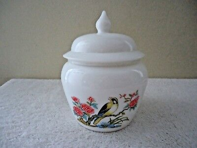 Vintage Avon # 10 White Milk Glass Acorn Shaped Bowl With Pic Of Bird And Lid
