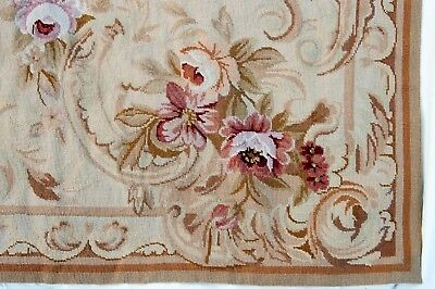 VINTAGE AUBUSSON RUG Needlepoint Wool French Floral Roses Garland  6x9 UNUSED!