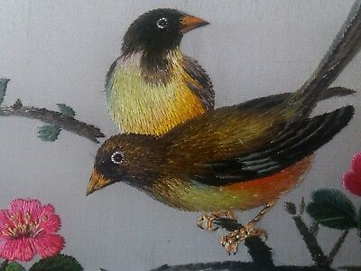 Old ANTIQUE Handmade Chinese Su Silk Embroidery Tapestry Birds Flowers Framed