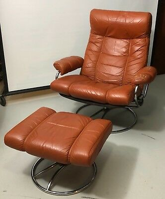 Vintage Ekornes Stressless Reclining Chair Leather Recliner And Ottoman