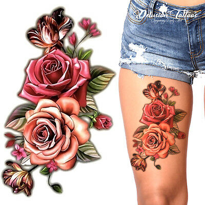 Temporary Tattoo - Pink Roses, 3D, Flowers, Waterproof, Body Art, Womens, Kids
