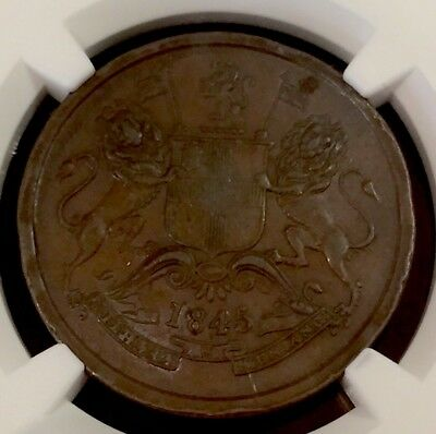 1845 C India 1/2 Anna S&w 2.59 Type A Numeral 4 W/ Serif Ngc Xf45 Brown Pop.1