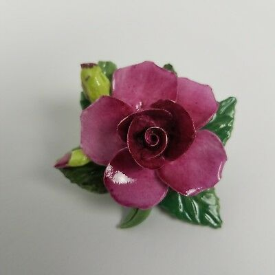 Crown Staffordshire Red Pink Rose Flower Brooch Floral Bone China Pin England