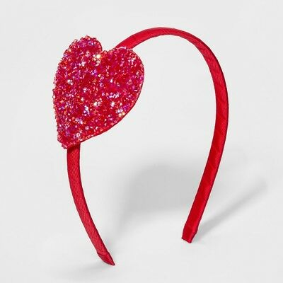 Girls' Glitter Heart Headband - Cat & Jack™ (Red) - New with Tags