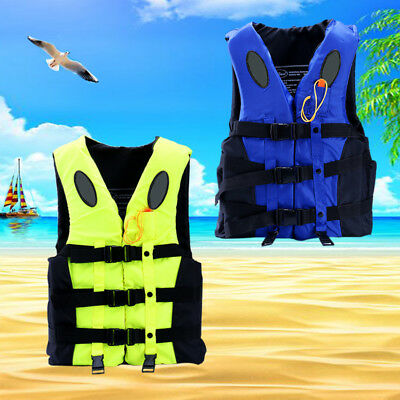 Adult Kids Life Jacket Vest Whistle Polyester Foam Swimming Boating + Whistle