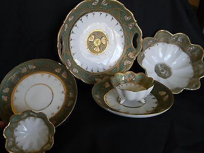 "ANTIQUE NIPPON ""OKURA ART CHINA"" MORIAGE STYLE HAND PAINTED PIECES (6 tot)"
