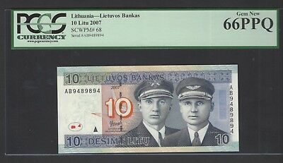 Lithuania 10 Litu 2007 P68 Uncirculated Graded 66