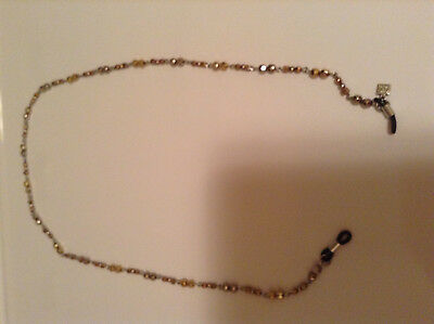 "ELEGANT silver and Gold beads Eyeglass Reading Glasses  Chain Holder 30"" long"