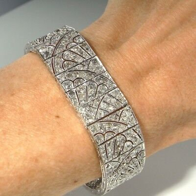 ART DECO HANDMADE Custom 18K White Gold Diamond Tennis Bracelet 750 1920s 1930s