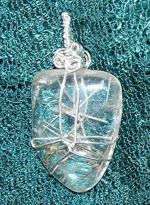 Quartz Crystal included with Muskovite Needles Sterling Silver Pendant