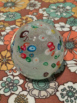 VTG Millefiori Art Glass Paperweight White Swirl Red Yellow Blue Green Circle