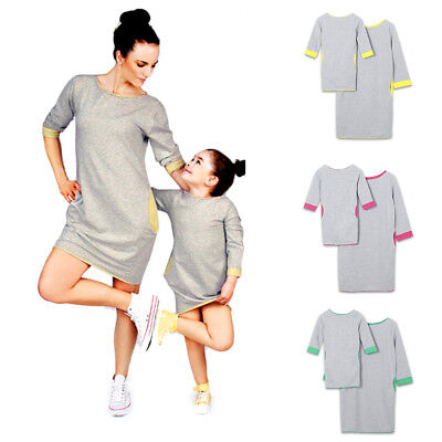 Mother Daughter Matching Casual Short Dress Family Clothes Outfits with Pocket