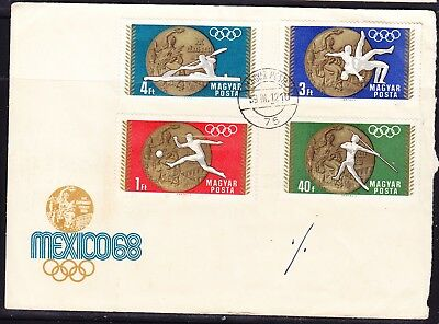 Hungary 1968 Mexico Olympics Medal Winners Cover to Australia + Back #2