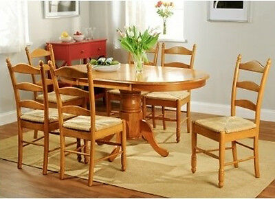 Oak Dining Room Set 7pc Country Cottage Round Oval Pedestal Table Leaf 6 Chairs