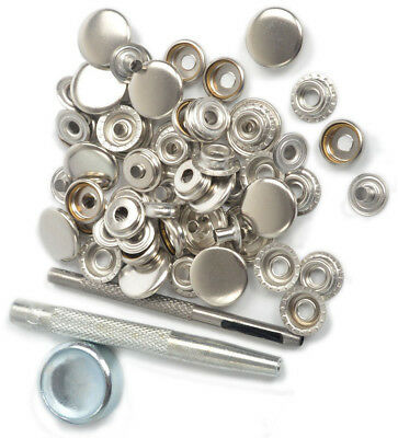 17mm x15 Silver Metal Press Studs Kit  Snap Fasteners +Tool Craft Sewing Button