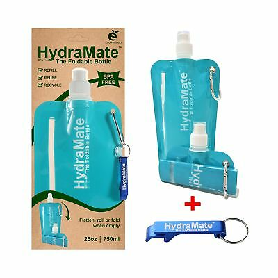 HydraMate FOLDABLE WATER BOTTLE - BPA Free. Collapsible 26oz/750ml Lightweigh...
