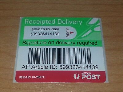 Australia Post Signature On Delivery Tracking Labels X 10.