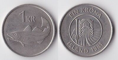 1981 Iceland 1 krona coin with fish