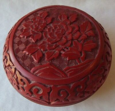 """Genuine Chinese Hand Carved Cinnabar Red Lacquer Round Lidded Box 4"""""""