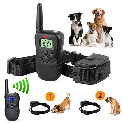 Pet Dog Remote Training Collar Electric LCD 100LV Shock Anti Bark + Battery Hot@
