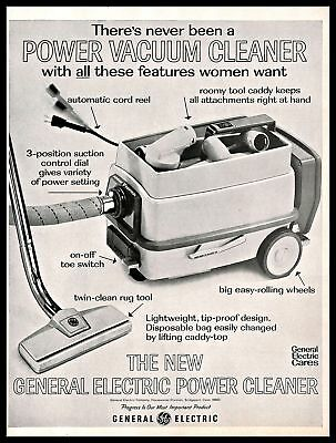 1966 General Electric Power Vacuum Cleaner Vintage PRINT AD Home Appliance 1960s