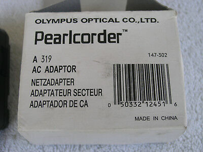 Olympus Pearlcorder AC adapter no. A 319 new, 3V, 300ma, 5.5mmm jack, center neg