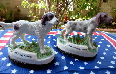 """Jasco resin dogs~TWO figurines~Brittany Spaniel~German Short-Haired Pointer~3.5"""""""