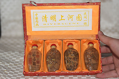 """4pc Chinese folk Inside painted """"Painting Scroll"""" glass snuff bottle"""