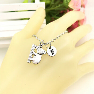 Koala Necklace charm Initial Letter Necklace stamped monogram chain Pendant
