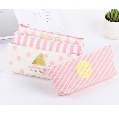 Fashion Zipper Pencil Pen Case Bag Canvas Makeup Cosmetic Bag Pouch Student