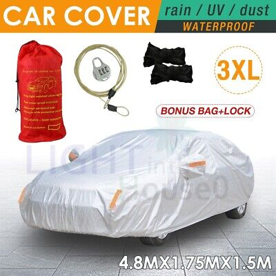3XL Aluminum 3 Layer Waterproof Car Cover Double Thick Rain UV Dust Resistant AU