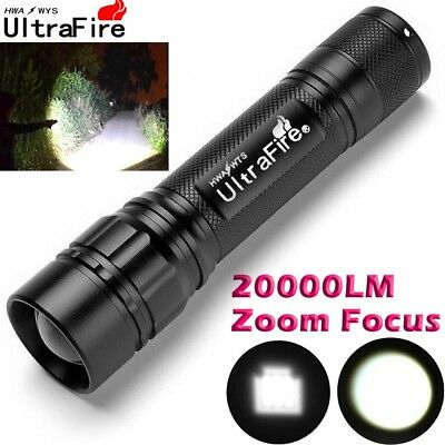 Ultrafire Tactical Flashlight T6 LED 18650 Torch 20000Lumen Zoomable Lamp Light