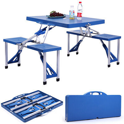 Blue Kids Outdoor Portable Plastic Folding Picnic Table Camping W/ 4 Seats