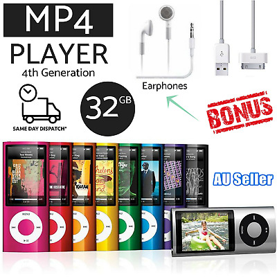 MP4 Music Player iPod Style Mp3 32G  FM Radio Music Media Player Earphone  Cable